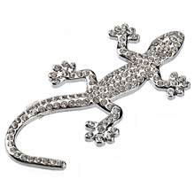 Universal Style Metal Wall Lizard Shape Car Sticker Emblem Car Logo with Rhinestones Auto Replacement Parts(China)