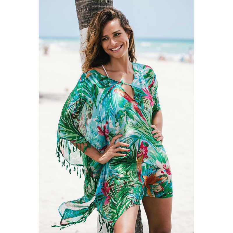 בוהמי ירוק טרופי הדפסת ליפס טאסל למעלה חולצה שמלת קיץ שיפון סרונג חוף כיסוי למעלה בגד ים טוניקת לשחות לחפות