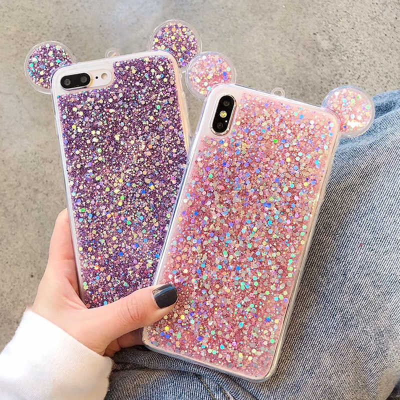 Phone Case for iPhone 6 6S Silicon Bling Glitter Crystal Mickey Mouse  Sequins Soft Cover Fundas e8d9bb48769a