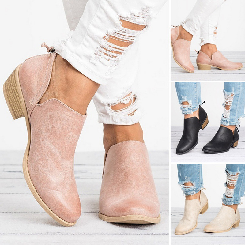 Laamei New Autumn Women Boots Female Square Heel Slip On Women High Heels Shoes Pointed Toe Casual Ladies Fashion Shoes Women