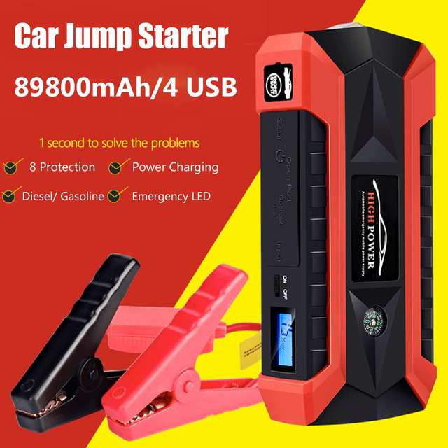 89800mAh Car Jump Starter Multifunction Emergency Charger Battery Power Bank Pack Booster 12V 4USB Starting Device Waterproof