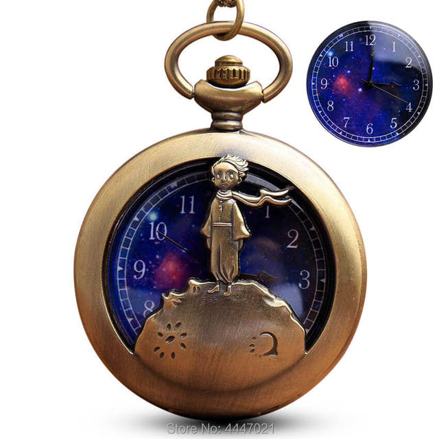 Animated The Little Prince Pocket Watch Chains Necklace Pendant Planet Quartz Po