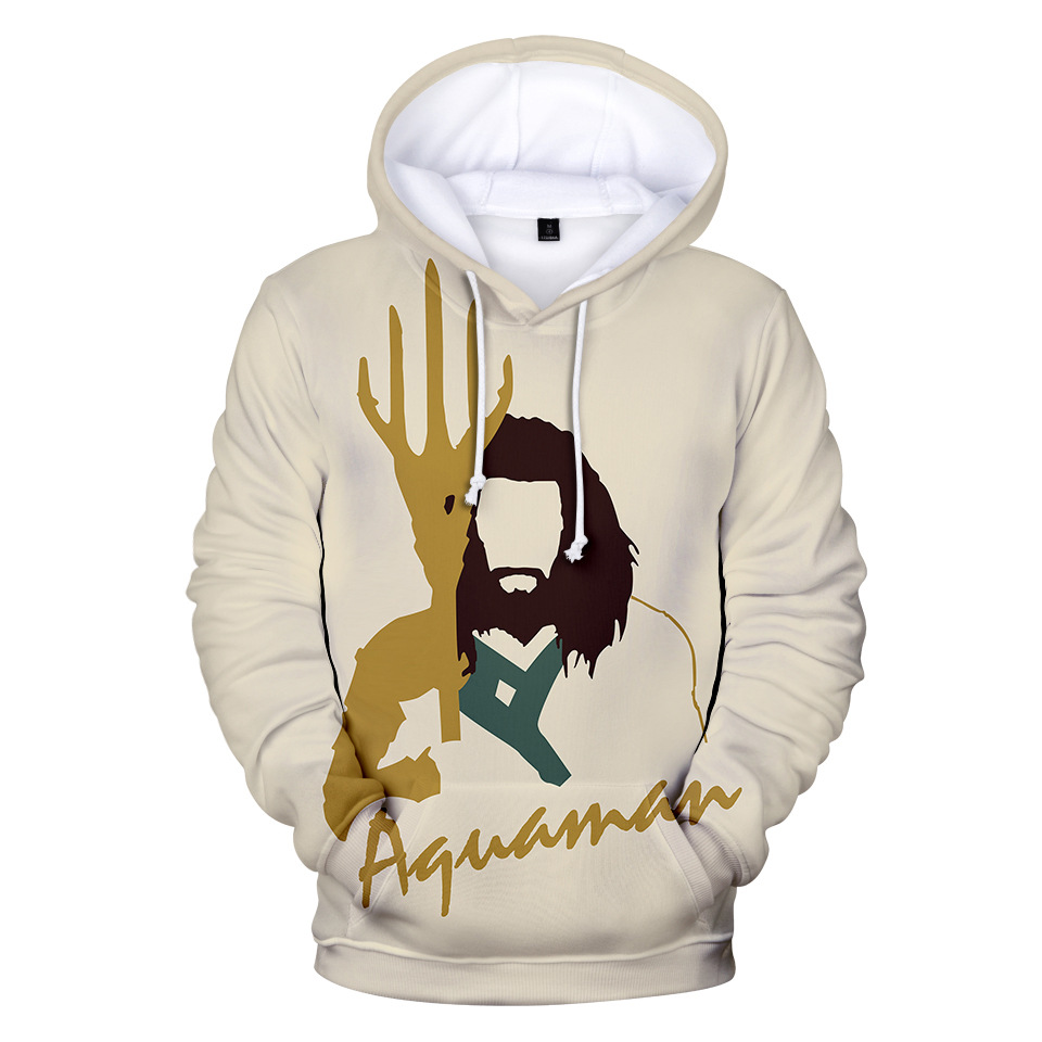 Movie Aquaman 3D Print Hoodies Men Aquaman Hoodie with Hat Round Neck Loose Sweatshirt Pullover Sudaderas Para Hombre Streetwear