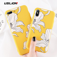 USLION Fashion Flower Phone Case For iPhone 7 8 6 6s Plus Luxury Cases For iPhone X XR XS Max Soft Silicon TPU Floral Cover 5SE цена и фото