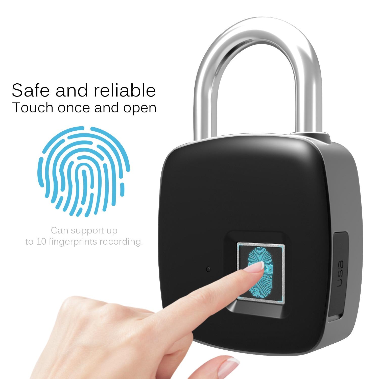 10 impronte digitali di Registrazione Intelligente di Impronte Digitali Lucchetto di Sicurezza di Ricarica USB Ricaricabile Impermeabile Porta di Sicurezza di Blocco Lucchetto10 impronte digitali di Registrazione Intelligente di Impronte Digitali Lucchetto di Sicurezza di Ricarica USB Ricaricabile Impermeabile Porta di Sicurezza di Blocco Lucchetto