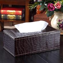 Стильная тканевая коробка из искусственной кожи крокодила, чехол для салфеток, бумажный держатель для дома, отеля, бумажный контейнер для салфеток, красный, коричневый