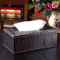 PU Leather Crocodile Style Tissue Box Cover Napkin Paper Holder Case for Home Hotel Paper Tissue Container Red Brown