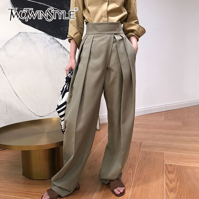 TWOTWINSTYLE Casual Harem   Pants   Women High Waist   Wide     Leg     Pants   Female Fashion Trousers 2018 Autumn New