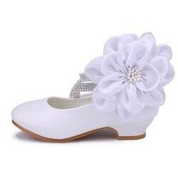 Criança menina do plutônio de couro strass cravejado grande flor flats pequeno miúdo baixo salto bombas crianças pageant vestido de casamento sapatos