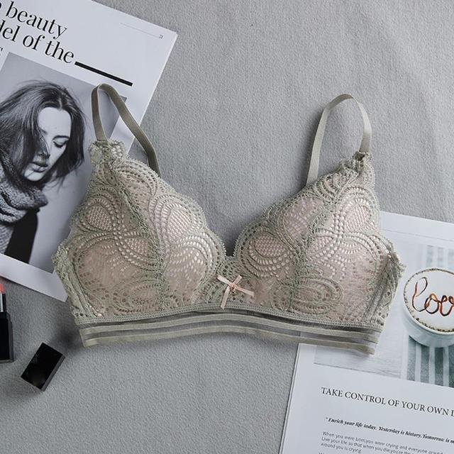 Women Sexy No Steel Ring Wire Free Bra Lace Floral Briefs Underwear Triangle Cup Bra Set 5