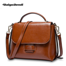 Retro Cow Split Leather Handbag Woman Classical Flap Simple Crossbody Bag Ladies Elegant Shoulder Bag OL Fashion Bag