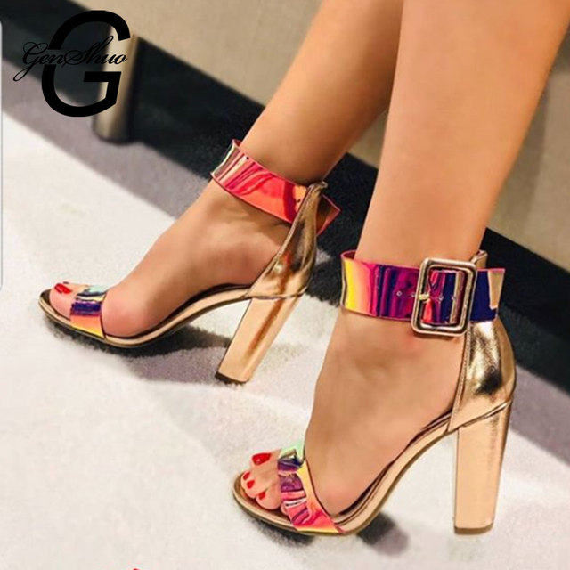 GENSHUO Chunky Heel Women Ankle Strap Gladiator Sandals Women's Summer Shoes Fashion Female Sandalias Cover Heel Party Shoes