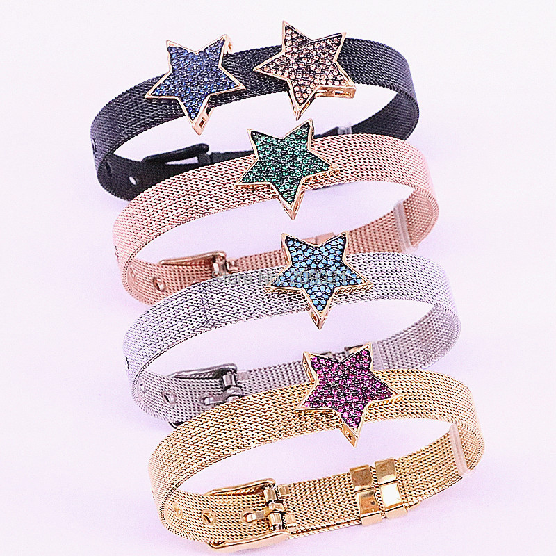 Fashion 5Pcs Gold Color CZ  Zirconia Micro Pave Star Space Bead Watch Belt Bracelet Charm