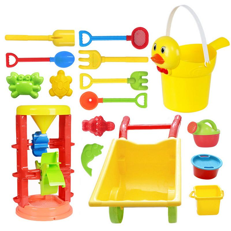 Children's Beach Sand Playing Toys Set Hourglass Cart Duckling Bucket Toy Smooth Non-toxic Plastic Bath Water Playing Tool Set