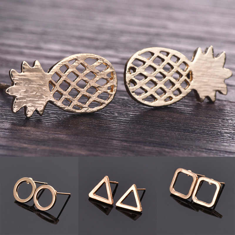 Fashion Dainty Tiny Adorable Jewelry for Women Stars Wedding Bridal Gold Silver Pineapple Circle Arrow  Girl Gift Stud Earrings