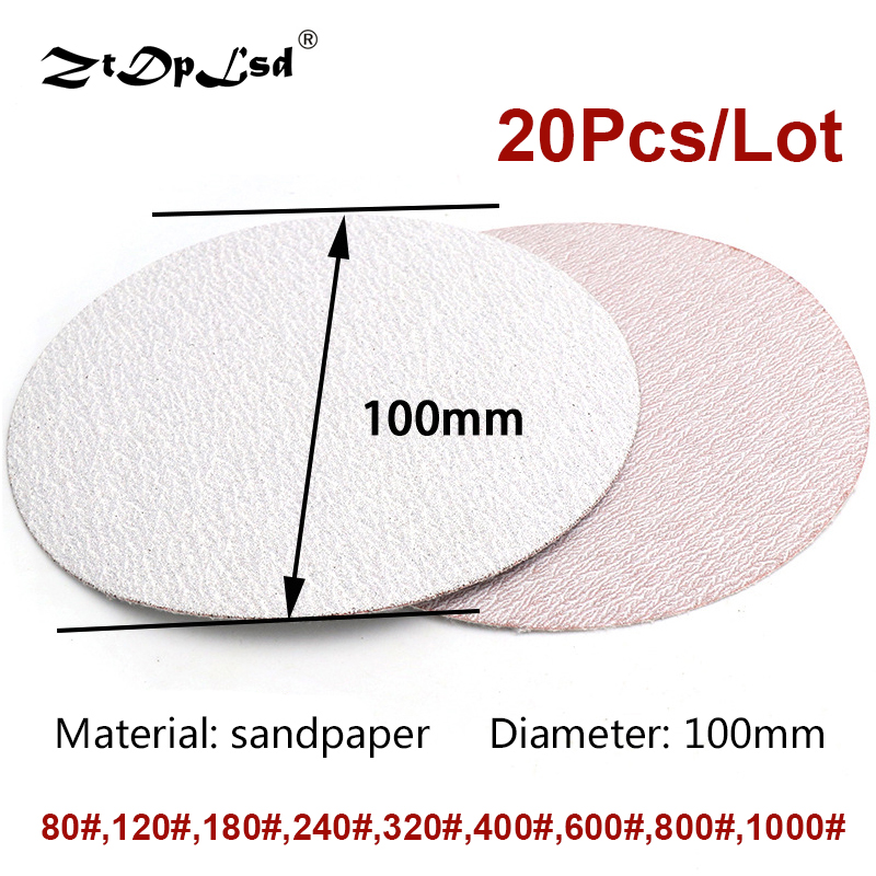 20Pcs 4 Inch 100mm Round Sandpaper Disk Sand Sheets Grit 40-2000 Hook And Loop Sanding Disc For Sander Pad White Paper Plate