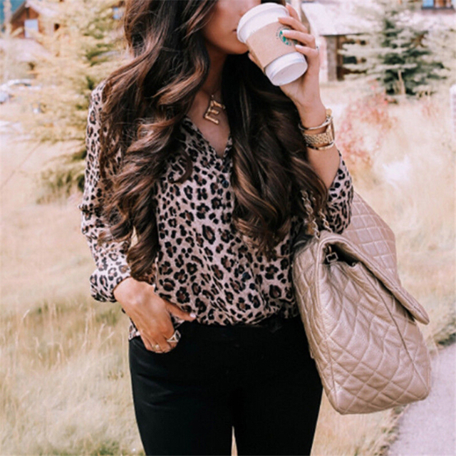 Sexy Leopard Print Shirt Women Long Sleeve Shirts Ladies Shirts And Blouses Button Shirt Casual Turn Down Collar Leopard Blouses 4