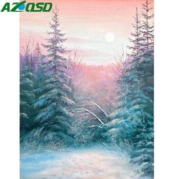 Azqsd Elmas Mozaik Kış Tam Kare Elmas Boyama Scenic Ev Dekorasyon