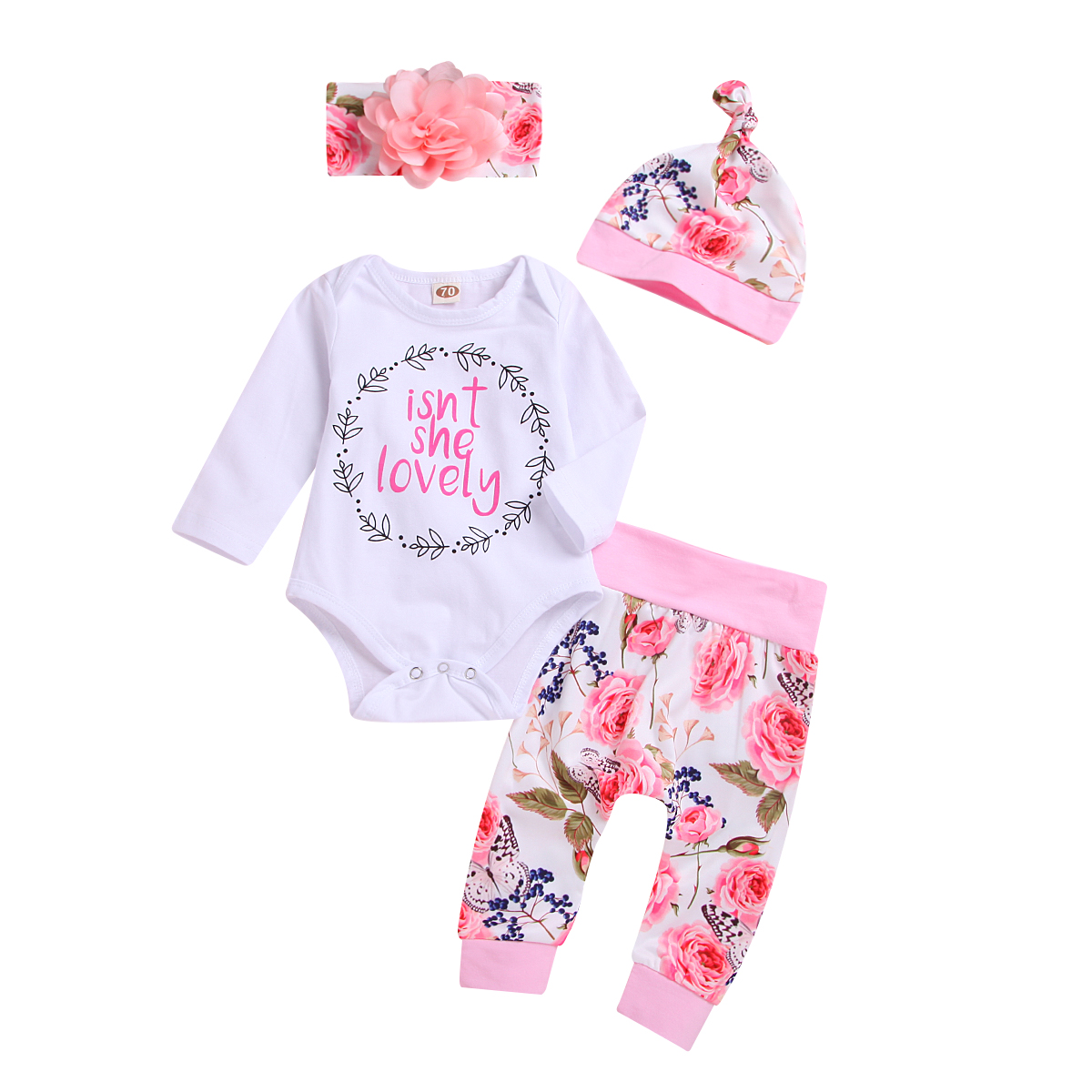 Cute Newborn Baby Girl Outfits Sets Fashion Long Sleeve Letter Bodysuit Tops Floral Pants Hat Headband Girls Casual Clothes Set cut out front trumpet sleeve floral mesh bodysuit
