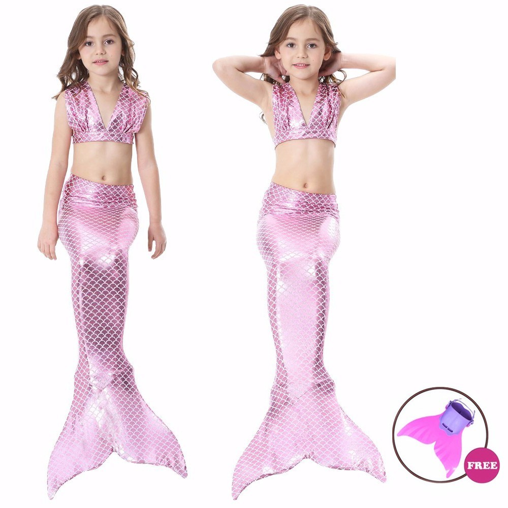 Girls Mermaid Tail Swimsuit with Monofin Colorful Swimmable Costume Cosplay Princess Swimwear Bikini Set Bathing Suit Set