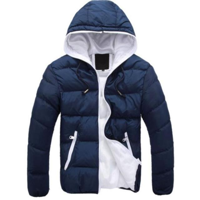 2019 Winter Cotton Warm Outwear Parka Winter Jacket Men Hooded Collar Coat Mens Warm Down Casual Coats with Zipper Pocket 1