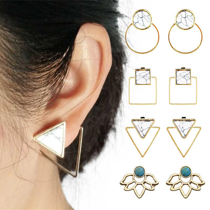 Модные серьги-каффы с геометрическими клипсами, круглые вечерние женские богемные мраморные треугольные квадратные ювелирные изделия в богемном стиле