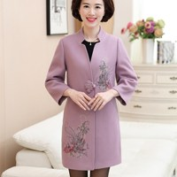 Autumn Winter Floral Embroidery Coat Women Wool Blend Coat Casual Long Elegant Sleeve Outwear Woolen Coat Femme Plus Size