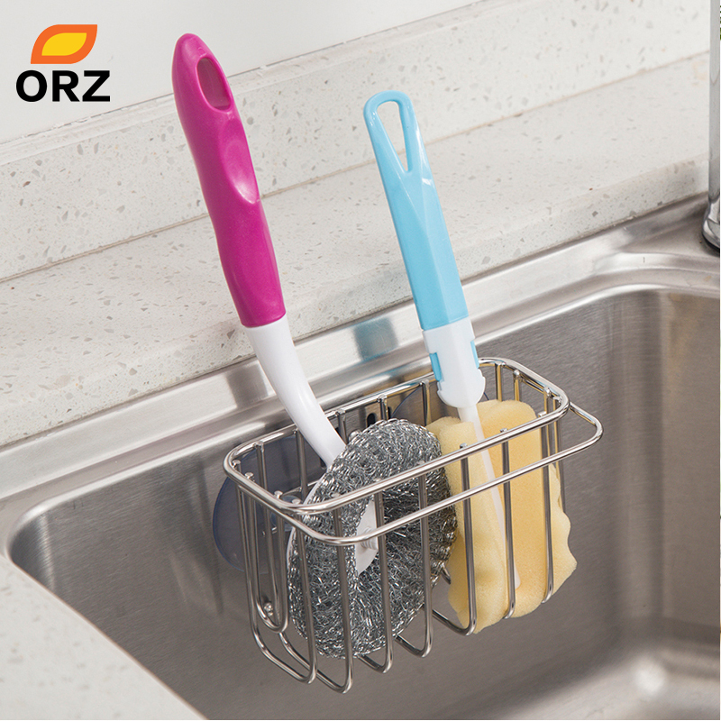 ORZ Kitchen Sink Caddy Drainer Rack With Suction Cup Bathroom Storage Organizer ShelfSponge Holder Towel Rack KitchenAccessories