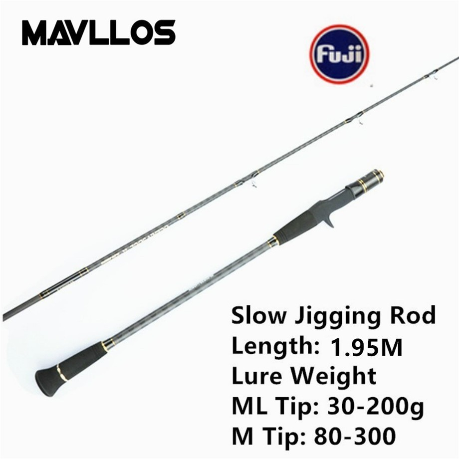 Mavllos 1.95M Ultralight Slow Jigging Rod FUJI Ring&Seat Lure Weight 80-300g/ 30-200g Saltwater Carbon Spinning Fishing Rod mavllos m ml slow jigging rod fishing 1 83m 2 sections lure weight 30 300g ultralight carbon fiber fishing casting spinning rod