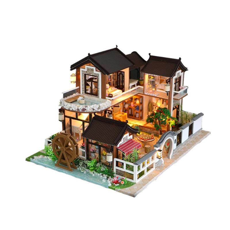 DIY Wooden Miniature DollHouse Toys Handmade Doll house Miniature Assemble Kit With Led Furnitures House Toys for Children Gift