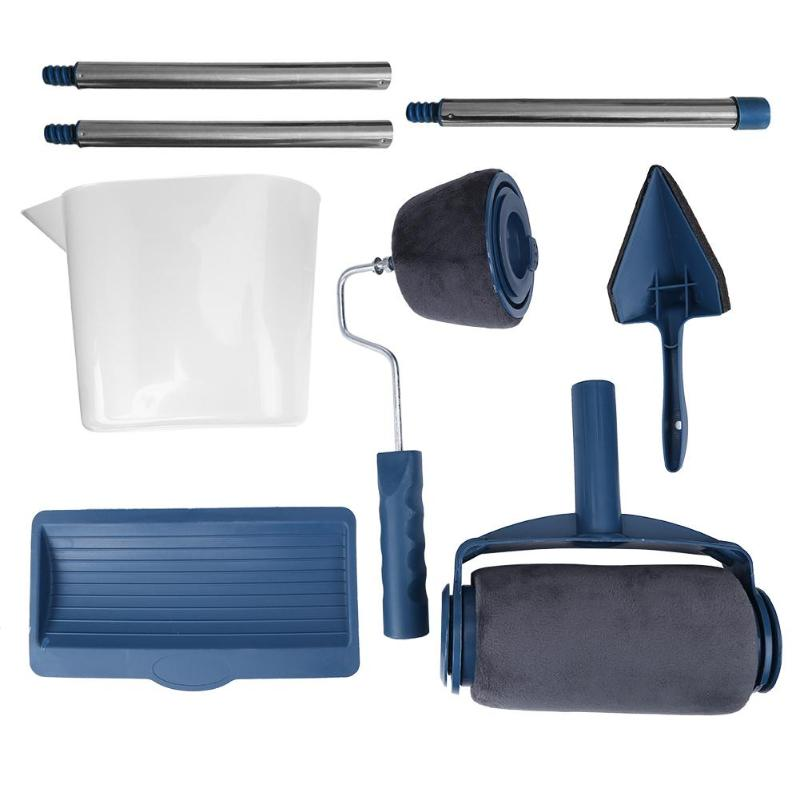 8pcs/set Multifunction DIY Paint Roller Brush Handle Tool Wall Runner Roller Paint Brush Tool Kits DIY Easy To Operate Painting