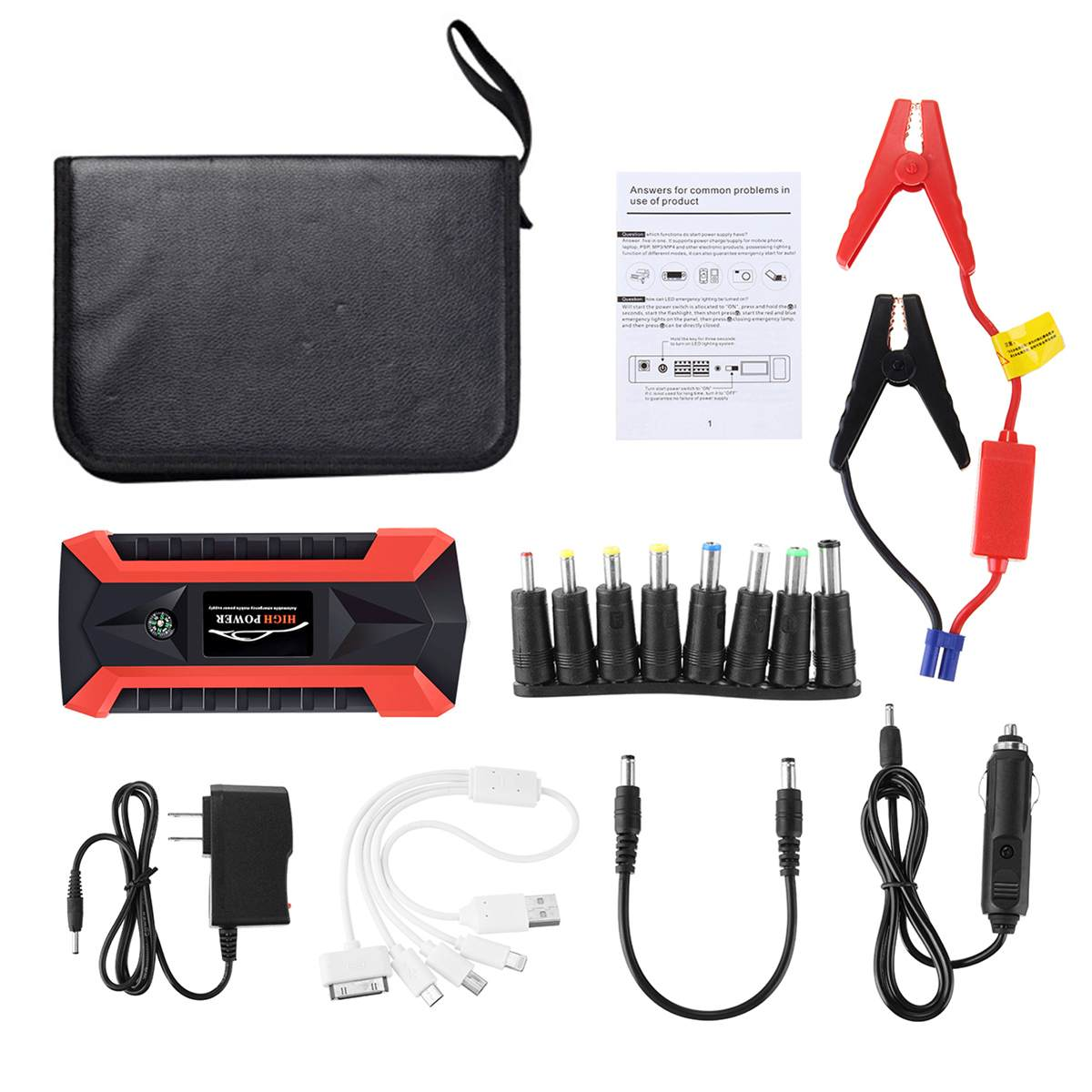 89800mAh 4USB Car Jump Starter Multifunction Emergency Charger Battery Power Bank Pack Booster 12V Starting Device Waterproof multifunction jump starter 89800mah 12v 4usb 600a portable car battery booster charger booster power bank starting device
