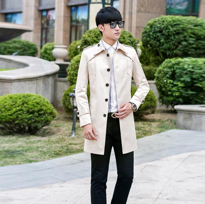 Printemps automne coréenne 2018 nouveau designer mens tranchée manteaux homme long manteau hommes vêtements slim fit pardessus à manches longues beige mode