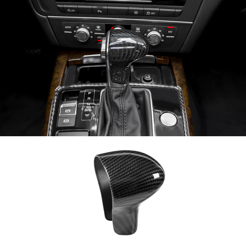 Image 4 - For Audi A4L 13 16 / A5 12 16 / Q5 13 18 / Q7 13 15 A6L 12 15 / A7 S6 S7 Carbon Fiber Car Gear Shift Knob Head Cover only LHD-in Interior Mouldings from Automobiles & Motorcycles