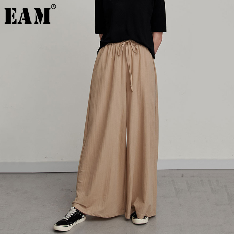 [EAM] 2019 New Spring Summer High Elastic Waist Striped Aprciot Drawstring Loose Wide Leg Pants Women Trousers Fashion JR634