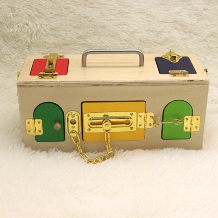 Éducation préscolaire apprentissage quotidien débloquer jouet boîte de verrouillage aide pédagogique jouet contreplaqué éducation précoce jouets éducatifs pour enfants à - 5
