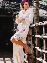 Women Beach Bikini Swimsuit Cover up Long Kaftan dress Summer Boho Maxi Dress Swimwear