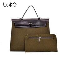 LUCDO Women Briefcase Handbag Pu Leather Work Suede Bag Vintage Business Office Female Totes Solid Color Messenger Shoulder Bags