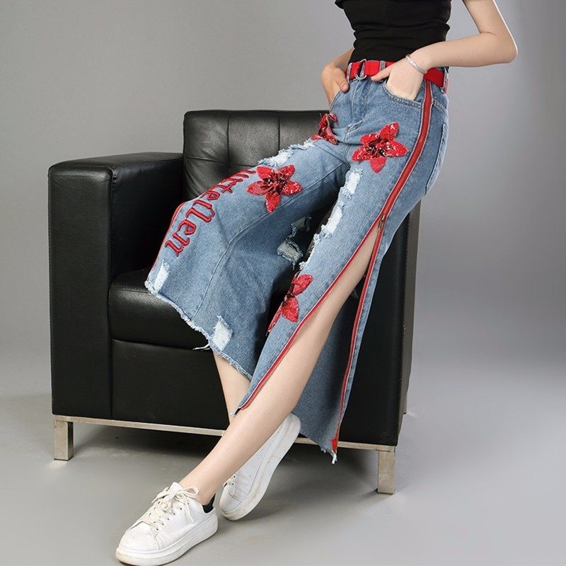 LANMREM 2019 Spring New Fashion Straight Trousers Sequin Embroidery Side Zipper Personal Jeans Ankle Length Wide Leg Pants YF679-in Jeans from Women's Clothing    2