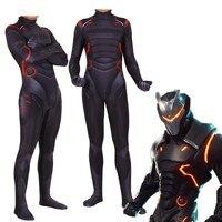 Adult Game Fortniter Cosplay Costume Omega Oblivion link Zentai Bodysuit Suit Jumpsuits Led Mask Halloween