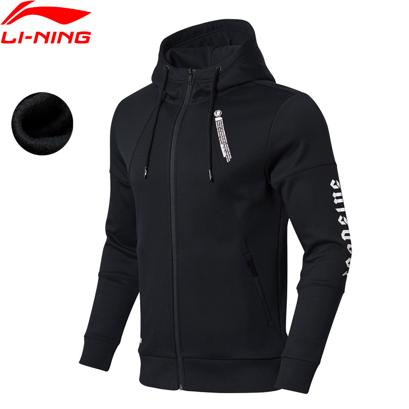 Li-Ning Men BAD FIVE Basketball Hoodie WARM AT Fleece 66% Cotton 34% Polyester Regular Fit LiNing Sports Sweater AWDN849 MWW1493 side slit fleece drop shoulder pullover hoodie