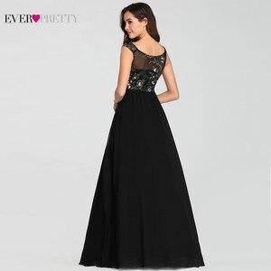Image 3 - בציר אפליקציות שחור ערב שמלות ארוך פעם די EZ07783BK סקסי צווארון V שרוולים ספגטי רצועת פורמליות שמלות 2020