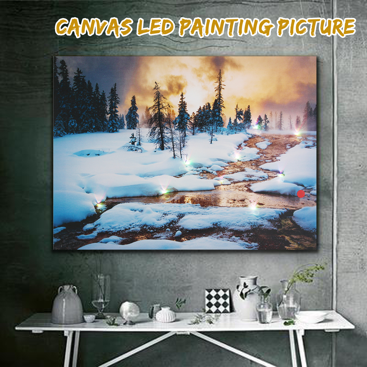 LED Light Up Christmas Canvas Pictures 30x40cm for Xmas Picture Decor Wall Hanging Home Decor Painting & Calligraphy