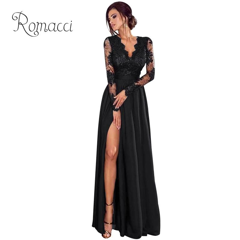 Sexy Women Lace Maxi Dress Plus Size Deep V Neck Long Sleeves Side Split  High Waist 26cadc2bf112