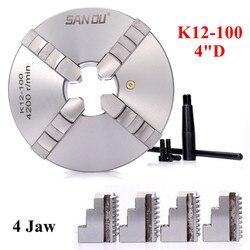SANOU K12-100 Lathe Chuck 100mm 4 Jaw Self-centering Chuck Hardened Reversible Tool