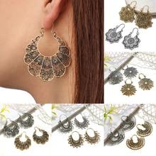 купить Women's Dangle Earrings Vintage Ethnic Style Openwork Flower Earrings Bohemian Carved Drop Earrings Metal Geometric Grid Ear по цене 38.43 рублей