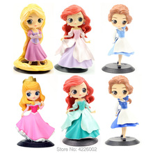 6 Q Posket Princess Figures Aurora Mermaid Ariel Rapunzel Belle QPosket Characters Collectible Dolls Kids Girls Toys Gifts