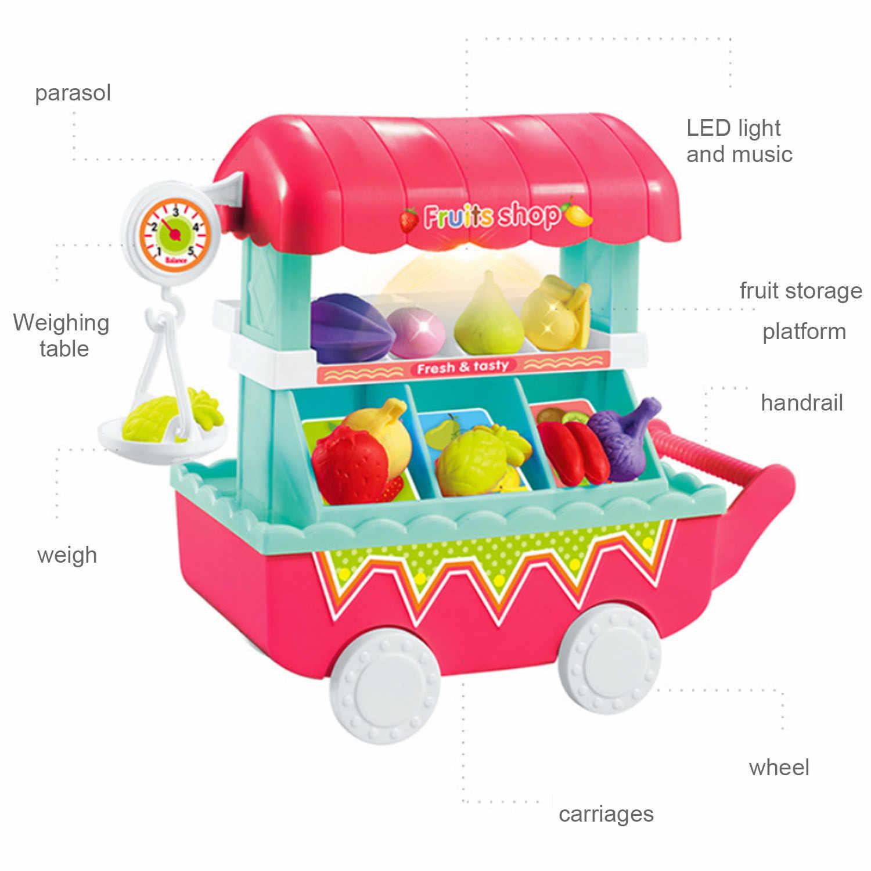 Anak-anak 10 Pcs Cute Kawaii Lampu LED Musik Mini Buah Sayuran Toko Makanan Keranjang Troli Dapur Keranjang Belanja Berpura-pura Bermain mainan