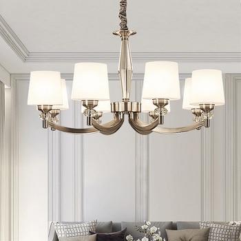 DX Modern Led Chandelier Nordic Lighting Villa Living Room Bedroom Decor Light Luxury Glass Lamp Shape White Bronze Lusters