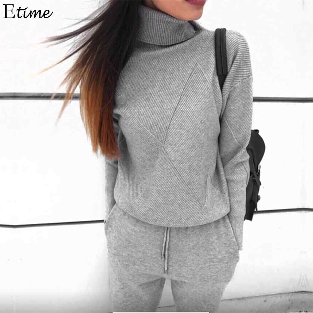 7f4e9cfb39f666 FANALA Sweater Two Piece Set Turtleneck Tracksuit Women Winner Lace Up  Chandal Mujer Knit Sweater Woman